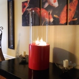 Doppio Rouge Tabletop Glass Cylinder Fireplace - Red