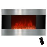 "Golden Vantage GFP510DPB - 36"" Wall Mount Electric Fireplace Heater"