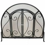 Single Panel Ornate Fireplace Screen with Doors - Black
