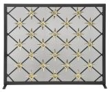 """31"""" H X 39"""" W Panel Screen Black And Polished Brass Star Design"""