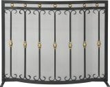 """31"""" H X 40"""" W Panel Screen Black And Gold Bowed Scroll Design"""