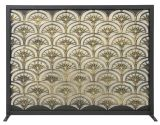 """33"""" H X 44"""" Wide Panel Screen Black With Antique Gold Fan Design"""