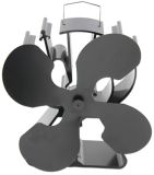 Heat Powered 4 Blade Stove Fan for Wood Stoves- Black