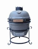 "Studio Ceramic Small (13"" W) Charcoal BBQ Grill for Grilling, Baking & Smoking - Grey"
