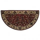 "Woodfield Brick Red Oriental Half-Round Rug, Wool, 22"" X 44"""