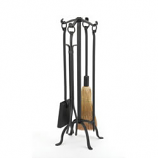 Woodfield Black Wrought Iron 4-Piece Tool Set W/Ring Handles