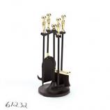 "Polished Brass/Black 4-Piece Mini Tool Set W/Ball Handles 22""H"