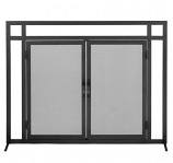 Mission Style Black Wrought Iron Fireplace Screen with Doors