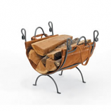 Woodfield Vintage Iron Log Rack With Leather Carrier
