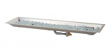 "12""x 42"" Rectangular Crystal Fire Stainless Steel Burner with Glass Fire Gems"