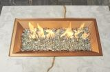 "12""x 24"" Rectangular Crystal Fire Copper Burner with Glass Fire Gems"