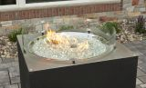 "30"" Round Crystal Fire Stainless Steel Burner with Glass Fire Gems"