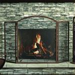 3 Panel Oakleaf Fireplace Screen Brown
