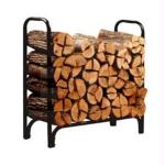 8' Deluxe Log Rack With Panels Black