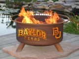 """Baylor Bears Fire Pit - 24"""" Diameter & Cold Rolled Steel w/ Rust Finish"""