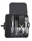 Stainless Steel Grill Utensils with Removable Soft Grip Handles - 4 Piece Set