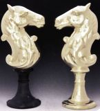 Horse Head Andiron - Brass Base