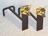 Fox Head Andiron - Brass