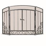 3 Panel Renaissance Screen with Doors- Brushed Pewter