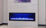 "Slim Indoor/Outdoor Electric Fireplace with Black Steel Surround - 50"""