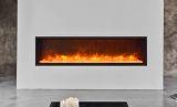 "Slim Indoor/Outdoor Electric Fireplace with Black Steel Surround - 60"""