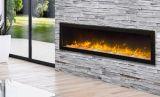 "Slim Indoor/Outdoor Electric Fireplace with Black Steel Surround - 72"""