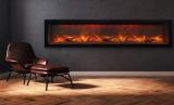"Deep Indoor/Outdoor Electric Fireplace with Black Steel Surround - 72"""