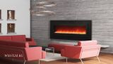 """Electric Fireplace with 85"""" Black Steel Surround and Overlay"""