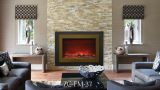 """Zero Clearance Electric Fireplace w/ 37"""" Steel Surround & Overlay"""