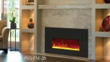 """Insert Electric 26"""" Fireplace with Black Glass Surround"""