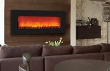 """Slim Wall Mount Electric Fireplace with 42"""" Black Glass Surround"""