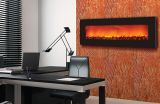 """Slim Wall Mount Electric Fireplace with 54"""" Black Glass Surround"""