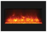 "33"" ZECL Electric Fireplace with Black Glass Surround and Ice Media"
