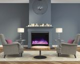 ZECL Electric Fireplace w/ Square Steel Surround and Ice Media