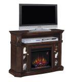 "Bellemeade TV Stand with 23"" Infrared Quartz Fireplace, Espresso"