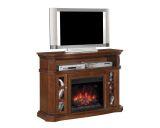 "Bellemeade TV Stand w/ 23"" Infrared Quartz Fireplace, Burnished Walnut"