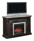 """Brighton TV Stand with 23"""" Infrared Quartz Fireplace, Coffee Black"""