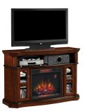 """Aberdeen TV Stand with 23"""" Infrared Quartz Fireplace, Premium Cocoa"""