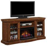 "Beauregard TV Stand w/ 25"" Curved IR Quartz Fireplace, Antique Caramel"