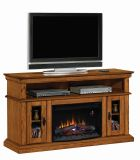 """Brookfield TV Stand with 25"""" Curved Electric Fireplace, Premium Oak"""