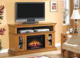 "Brookfield TV Stand w/ 25"" Curved IR Quartz Fireplace, Premium Oak"