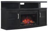 """Cantilever TV Stand w/ 25"""" Curved IR Quartz Fireplace, Embossing Oak"""