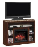 """Adams TV Stand with 23"""" Infrared Quartz Fireplace, Empire Cherry"""