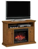 """Cannes TV Stand with 23"""" Infrared Quartz Fireplace, Antique Oak"""