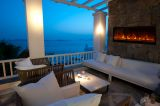 Nova Indoor/ Outdoor Electric Fireplace W/ Black Glass Face