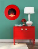 "Latitude 23"" Round Modular Wall Mount Electric Fireplace - Red"