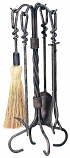 5 Pc Antique Rust Wrought Iron Toolset