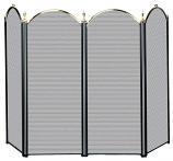 4 Fold Polished Brass /Black Screen (S-3117)
