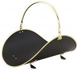 """21"""" Polished Brass /Black Woodbasket W/Polished Brass Trim"""