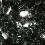 "10 lbs. Broken Style 1/2"" Black Reflective Fire Glass"